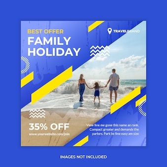 Banner de web de redes sociales de viaje familiar