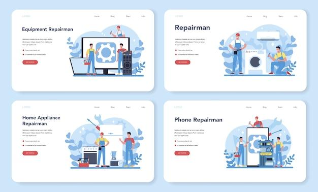 Banner web de reparador o conjunto de página de destino. trabajador profesional en el aparato electrodoméstico eléctrico de reparación uniforme con herramienta. ocupación de reparador.