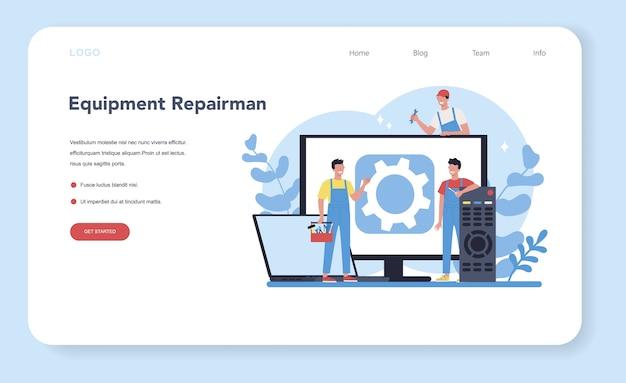 Banner de web de reparador o página de destino. trabajador profesional en el aparato electrodoméstico eléctrico de reparación uniforme con herramienta. ocupación de reparador.