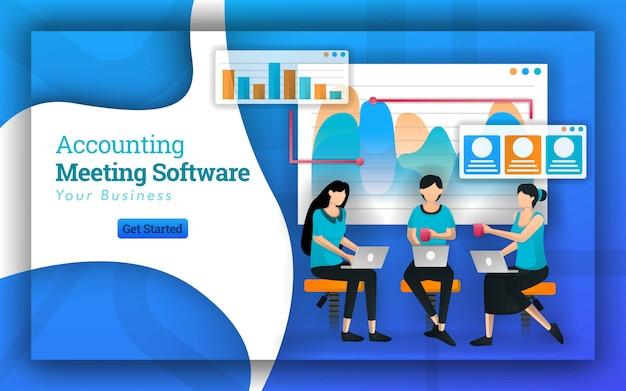 Banner web para reuniones de software contable.