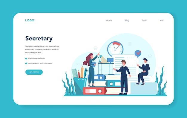 Banner web de secretaria o página de destino. recepcionista contestando llamadas y ayudando con el documento.