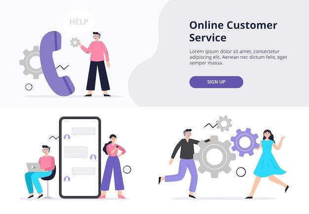 Banner web con servicio al cliente en diseño plano.