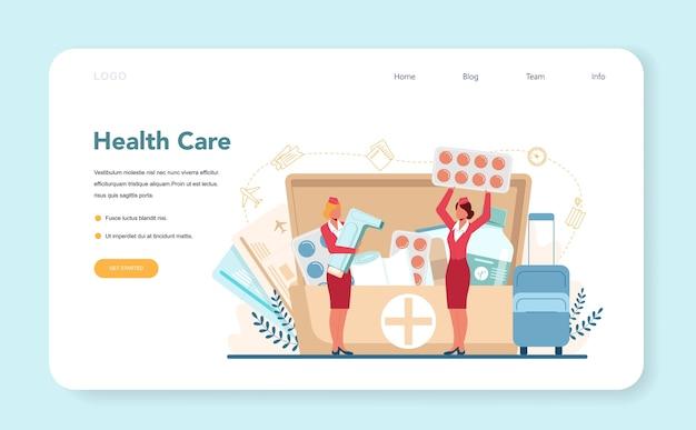 Banner de web de servicio de atención médica de azafata o página de destino.