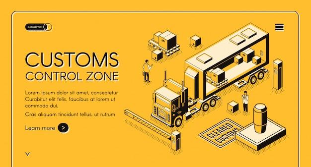 Banner de la web de servicios de control de aduanas en línea con oficiales de aduanas que inspeccionan