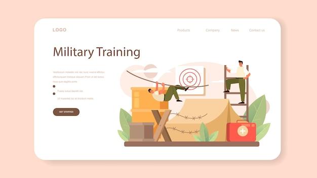 Banner web de soldado o página de destino. empleado de la fuerza militar en camuflaje con un arma. equipo y tecnología del ejército. estrategia y táctica de guerra. ilustración de vector plano aislado