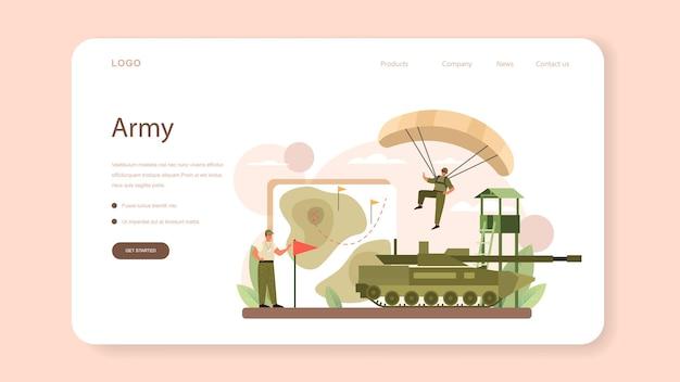 Banner web de soldado o página de destino. empleado de la fuerza militar en camuflaje