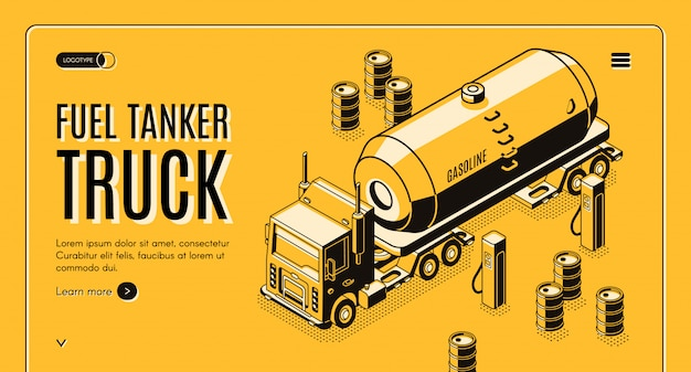 Banner de web de transporte de combustible con camión cisterna transportando gasolina a gasolinera