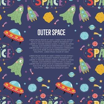 Banner de web de vector de dibujos animados de espacio ultraterrestre