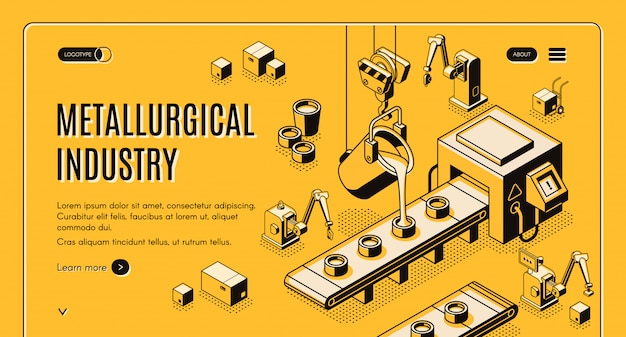 Banner de web vector isométrica tecnologías de industria metalúrgica