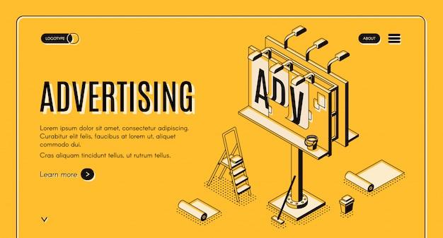 Banner de web vector isométrico de agencia de publicidad