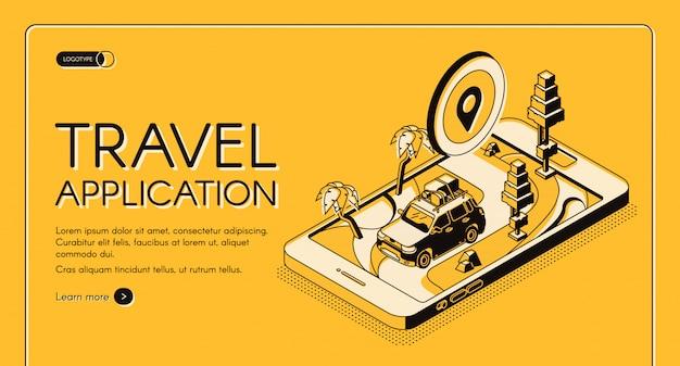 Banner de web vector isométrico de aplicación de viajes.