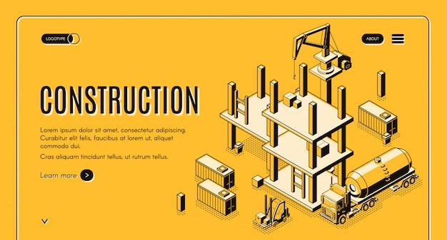 Banner de web de vector isométrico compañía de construcción con camión cisterna