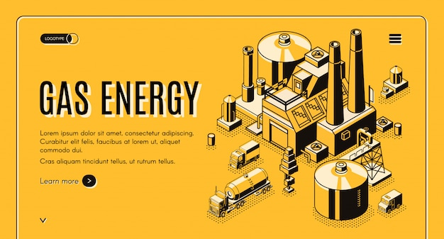 Banner de web de vector isométrico de la compañía de suministro de energía y gas natural o plantilla de página de destino con carg