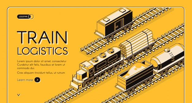 Banner de web de vector isométrico empresa de transporte industrial del ferrocarril