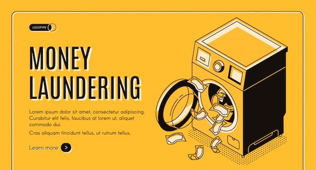 Banner de web de vector isométrico de lavado de dinero, página de destino.