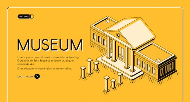 Banner de web de vector isométrico de museo histórico, de arte o ciencia