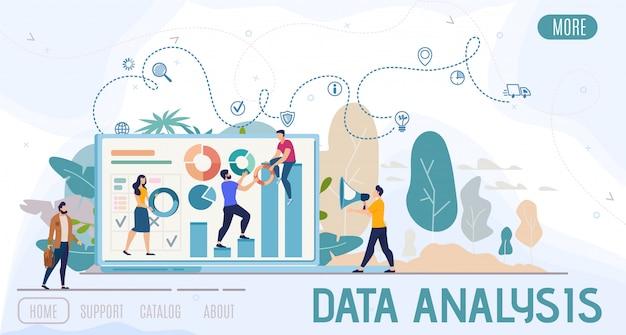Banner de web de vector plano de análisis de datos de negocios