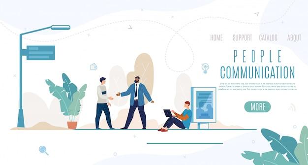Banner de web de vector plano de comunicación de personas