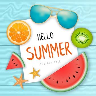 Banner de web de venta de verano.