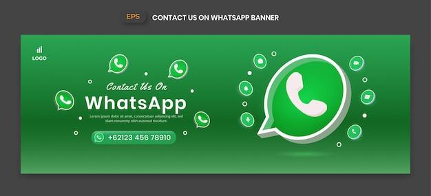 Banner de whatsapp con icono de vector 3d para promoción de página de negocios y publicación en redes sociales