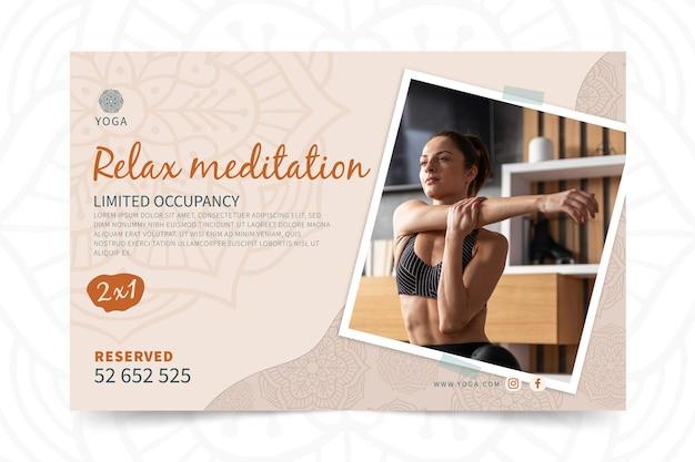 Banner de yoga relajarse meditación