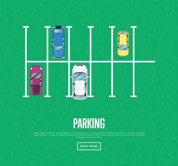 Banner de zona de estacionamiento en estilo plano