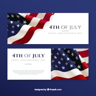 Banners de 4 de julio con bandera americana