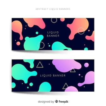 Banners abstracto con formas líquidas