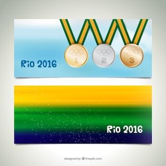 Banners abstractos de brasil y medallas