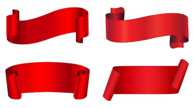 Banners abstractos de cinta roja