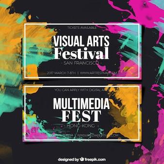 Banners abstractos coloridos de arte