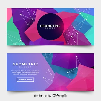 Banners abstractos con formas coloridas