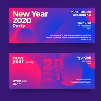 Banners abstractos conjunto fiesta año nuevo 2020