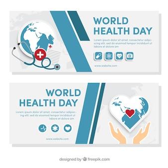 Banners abstractos del día mundial de la salud