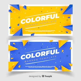 Banners abstractos con diseño plano
