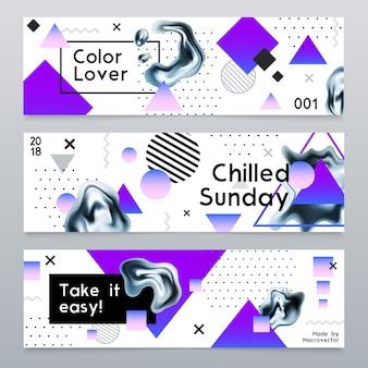 Banners abstractos con elementos de cromo