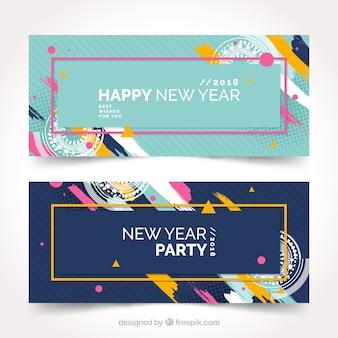 Banners abstractos de fiesta de año nuevo 2018 en azul