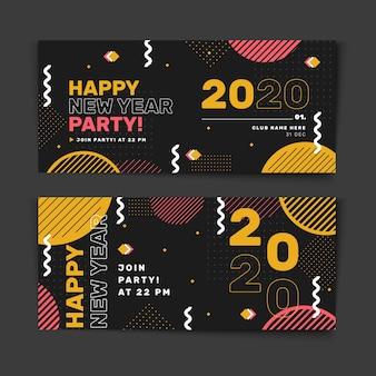 Banners abstractos de fiesta de año nuevo 2020