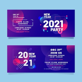 Banners abstractos de fiesta de año nuevo 2021