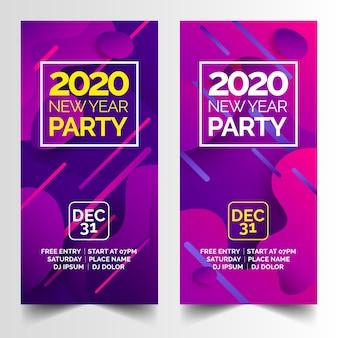 Banners abstractos de fiesta de año nuevo