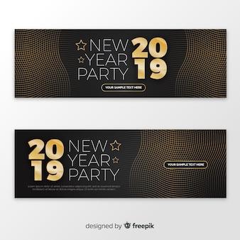 Banners abstractos de fiesta de fin de año 2019