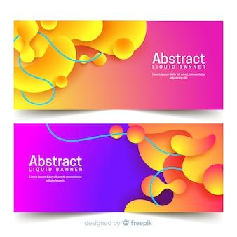 Banners abstractos con formas líquidas
