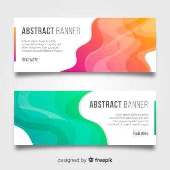 Banners abstractos con formas onduladas coloridas