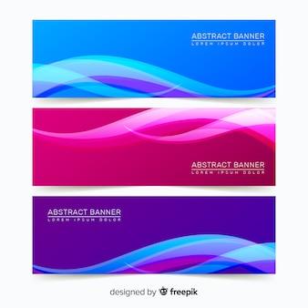 Banners abstractos con formas onduladas