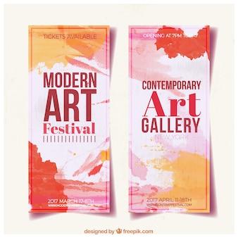 Banners abstractos de galería de arte