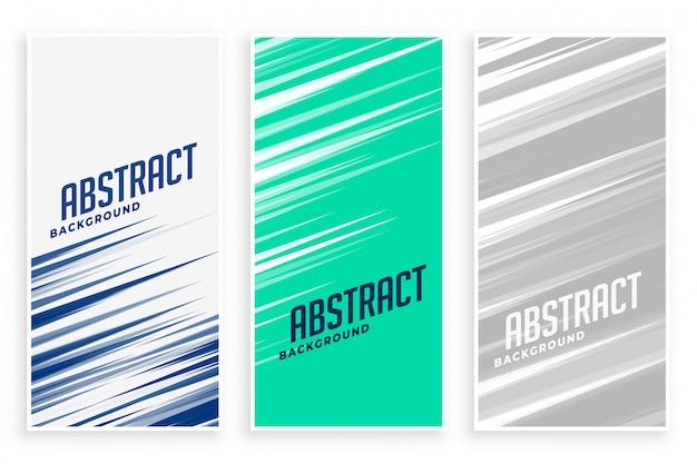 Banners abstractos con líneas de movimiento rápido en tres colores.