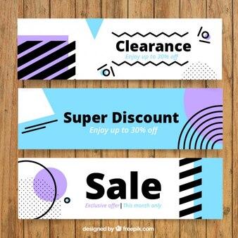 Banners abstractos de liquidación