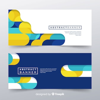 Banners abstractos modernos con diseño plano