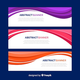 Banners abstractos ondas coloridas