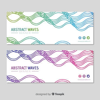 Banners abstractos con ondas